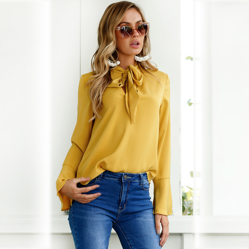 Fashion Women Tops Long Sleeve Bow flare sleeve Lady Basic Tee blusas Solid Color Tops