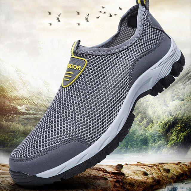حجم كبير الانزلاق على أحذية رياضية الرجال احذية الجري الرجال أحذية رياضية الذكور حذاء رياضي تنس رمادي Spor Ayakkabi Erkek المدربين رياضة B-282 1