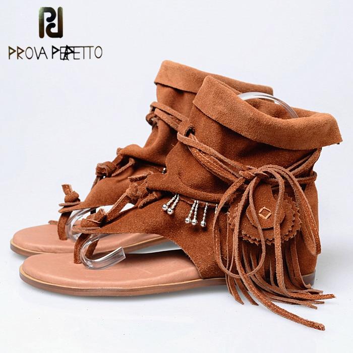 Prova Perfetto New Fashion Cow Suede Tassel Women Gladiator Sandals Flat Comfortable Ladies Flip Flops Sandals Thong Shoes
