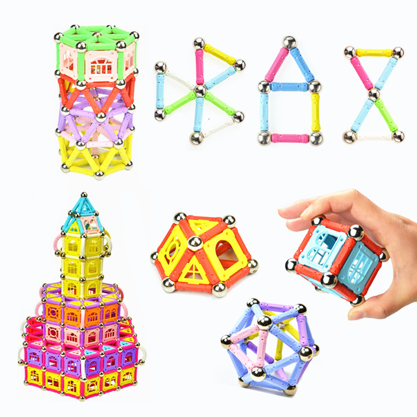 Birthday Gift Child Pretty Box Magnet Toy Children Magnetic Building Blocks Kids Educational Toy Magnetic Stick TSZ108-2 wooden tower wood building blocks kids toy domino 54pcs stacker extract building blocks children educational game gift 4pcs dice