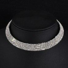 1 2 3 4 5 Rows Rhinestone Choker Necklace party wedding jewelry