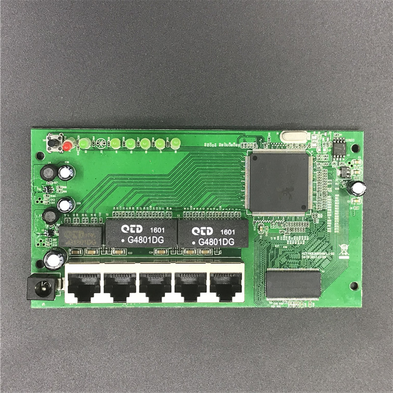 OEM 5 Port Gigabit Router Module 10/100/1000M Distribution Box 5-port Mini Router Modules OEM Wired Router Module PCBA With RJ45