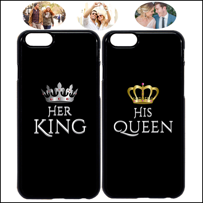 pretty nice 3ed9c f62a8 US $3.0 |Her King & His Queen Matching Couple Phone Case Cover For iPhone X  7 8 Plus XR Xs Max 6 6s 5 5s & Samsung + Tempered Glass A54-in Fitted ...