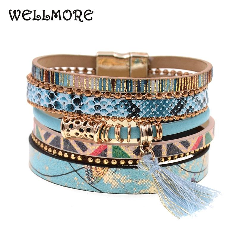 Pulsera de cuero Flor azul piel de serpiente azul pulsera brazalete con dijes pulseras y brazaletes bohemios B1612