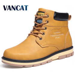 VANCAT Super Warm Men's Winter Pu Leather Ankle Boots Men Autumn Waterproof Snow Boots Leisure Martin Autumn Boots Mens Shoes