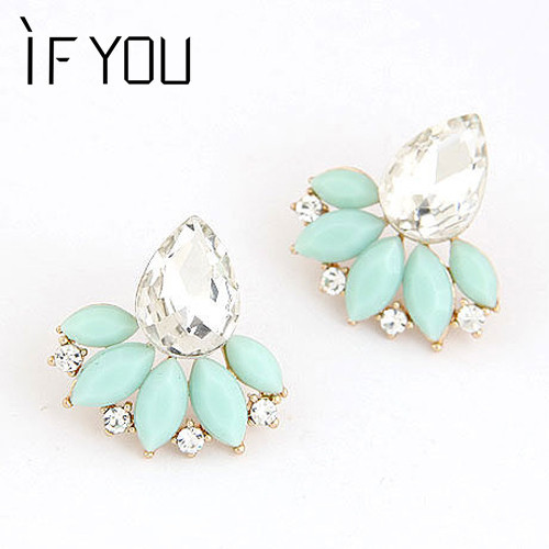 IF YOU New Brand Design Retro Exquisite Women Acrylic Flower Crystal Gem Cubic Zircon Stud Earrings For Women Accessories Gifts