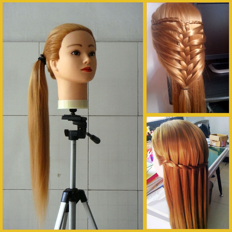 hair styling training courses professional golden fiber beautiful hair wig 6817 | Professional Golden Fiber Beautiful Hair Female Wig Mannequin Head Clamp Hairdressing Styling Training Head Model set