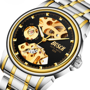 Mechaniczne zegarki ze stali nierdzewnej mężczyźni szkielet złoty zegarek automatyczne mechaniczne męskie zegarki wodoodporny samonakręcający zegar daty tanie i dobre opinie Mechaniczne Zegarki Na Rękę 20mm Odporny na wstrząsy Świetliste Dłonie Odporne na wodę ROUND Szkło 3Bar 40mm FWH0401