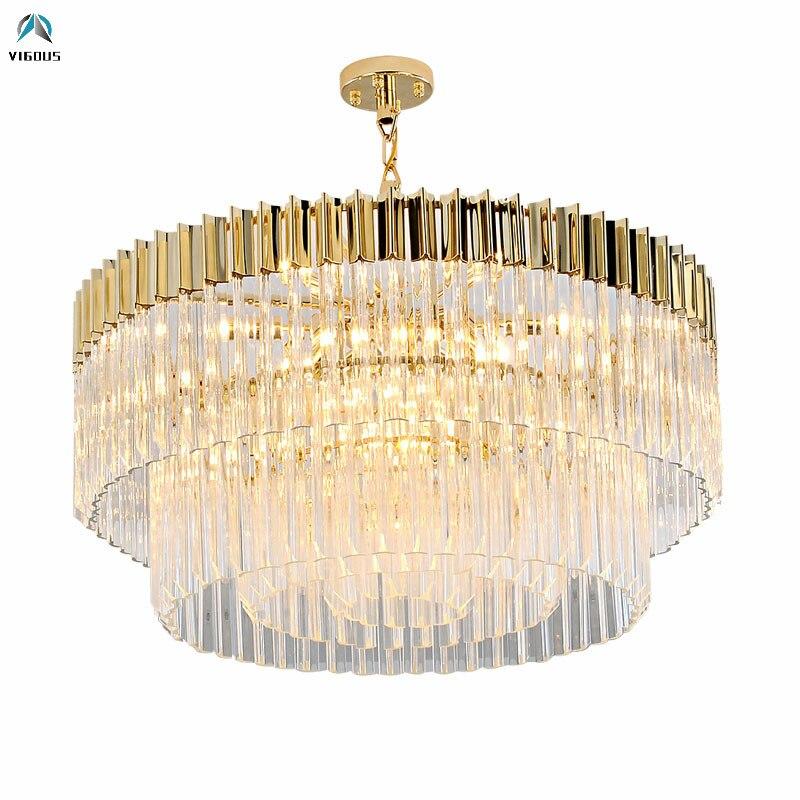 Salon Plaqué Acier K9 Cristal De Luxe Led Pendentif Lumière Led Lampe Led Pendentif Lampe Lampe Suspendue Suspendre Lampe Led lumière