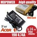 MDPOWER Для ACER Aspire 3750ZG 3820TG 3830TG ноутбук блок питания ПЕРЕМЕННОГО тока зарядное шнур 19 В 4.74A