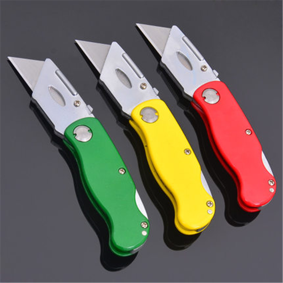 Folding Knife Heavy Duty Knife Pipe Cutter Stainless Steel Utility Knife With 5PCS Knife Blades Outdoor Survival Tools