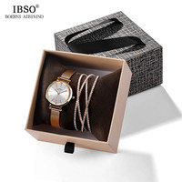 IBSO 2019 Brand Luxury Quartz Watches Women Wristwatches Leather or Metal Strap Ladies Watch Bracelet Gift Box Set Automatic