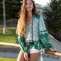 TEELYNN puff long Sleeve Boho blouse Vinatge green Floral print sexy V Neck ruffles blouses Hippie Bohemia 2018 women blouses