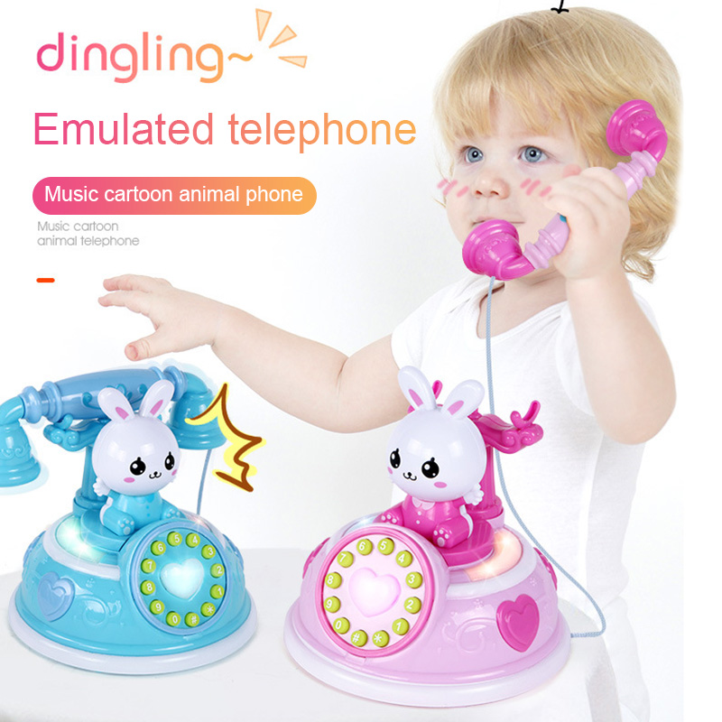 New 1 Pcs Simulation Telephone Toy Role Play With Music Light Early Educational For Children