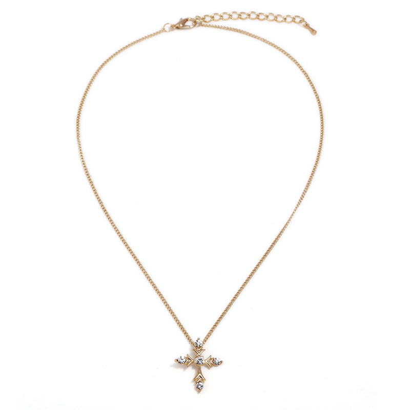 Gold Color Necklace With Cross Crystal Zircon Stone Pendant Necklace