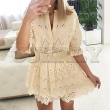 CUERLY Elegant coordinates solid 2 pieces set  Elastic high waist hollow out female mini dress V-neck half sleeve party dresses
