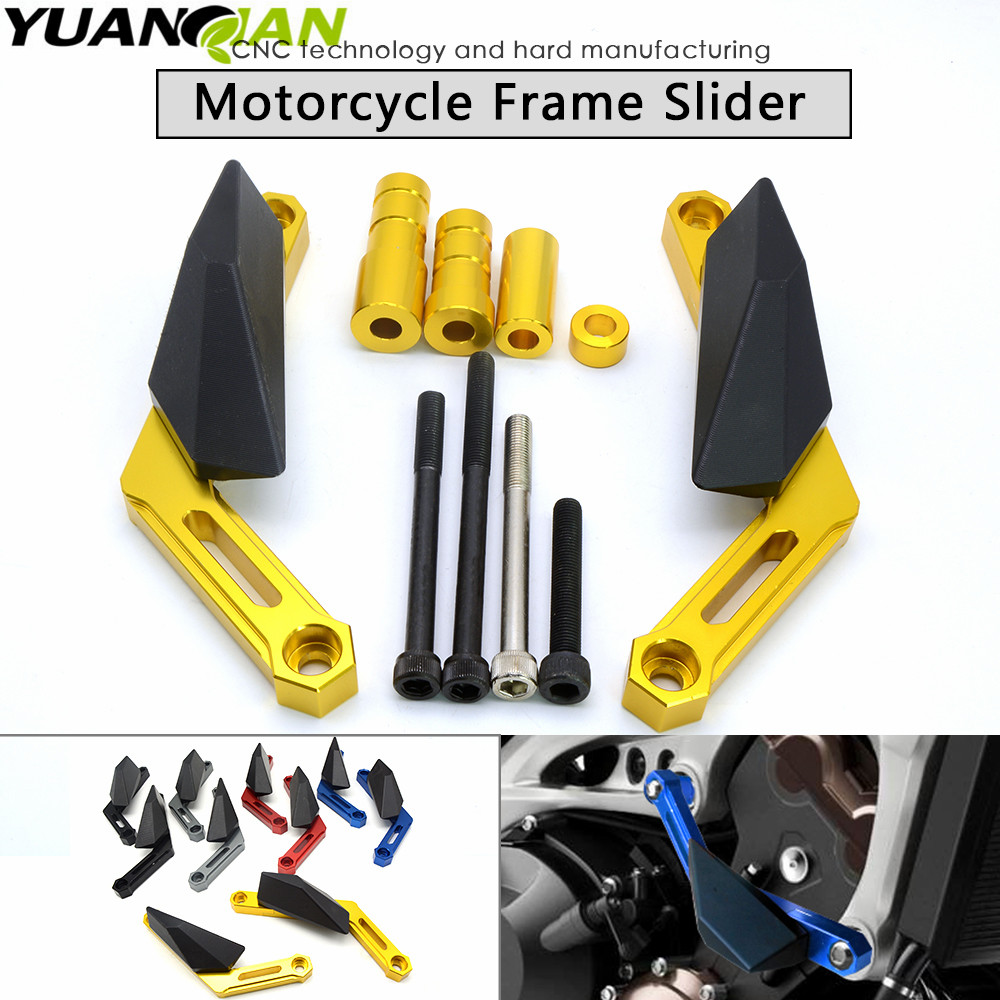 Motorcycle Frame Sliders Crash Engine Protection Pad Aluminium Side Shield Protector For YAMAHA MT-09 FZ09 FJ09 XSR900 2013-2016