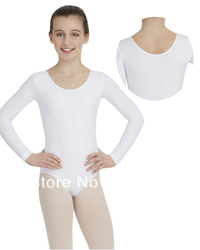 The new of 2013 child long sleeve leotards white ballet simple leotard for girs classical ballet.jpg 250x250