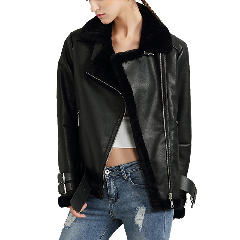 Black Red Women Faux <font><b>Leather</b></font> Berber Suede Shearling Coats Vintage Motorcycle Thicken Jacket Artificial Fur Warm Coats U306111
