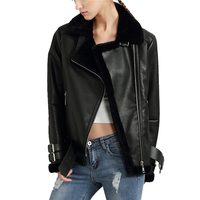 Women Faux Leather Berber Suede Shearling Coats Vintage Motorcycle Thicken Jacket Artificial Fur Warm Coats