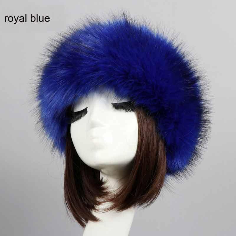 Russian Cossack Style Faux Fur Headband For Women Hair Band Femme Winter Earwarmer Earmuff Ski Hat