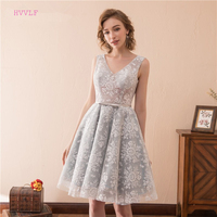 Silver 2019 Party Homecoming Dresses A line V neck Knee Length Lace Backless Elegant Cocktail Dresses