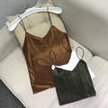 Alpha Shining Velvet Camis Female V-neck Sling  Solid Tidy Crop Top Winter Casual Outwear