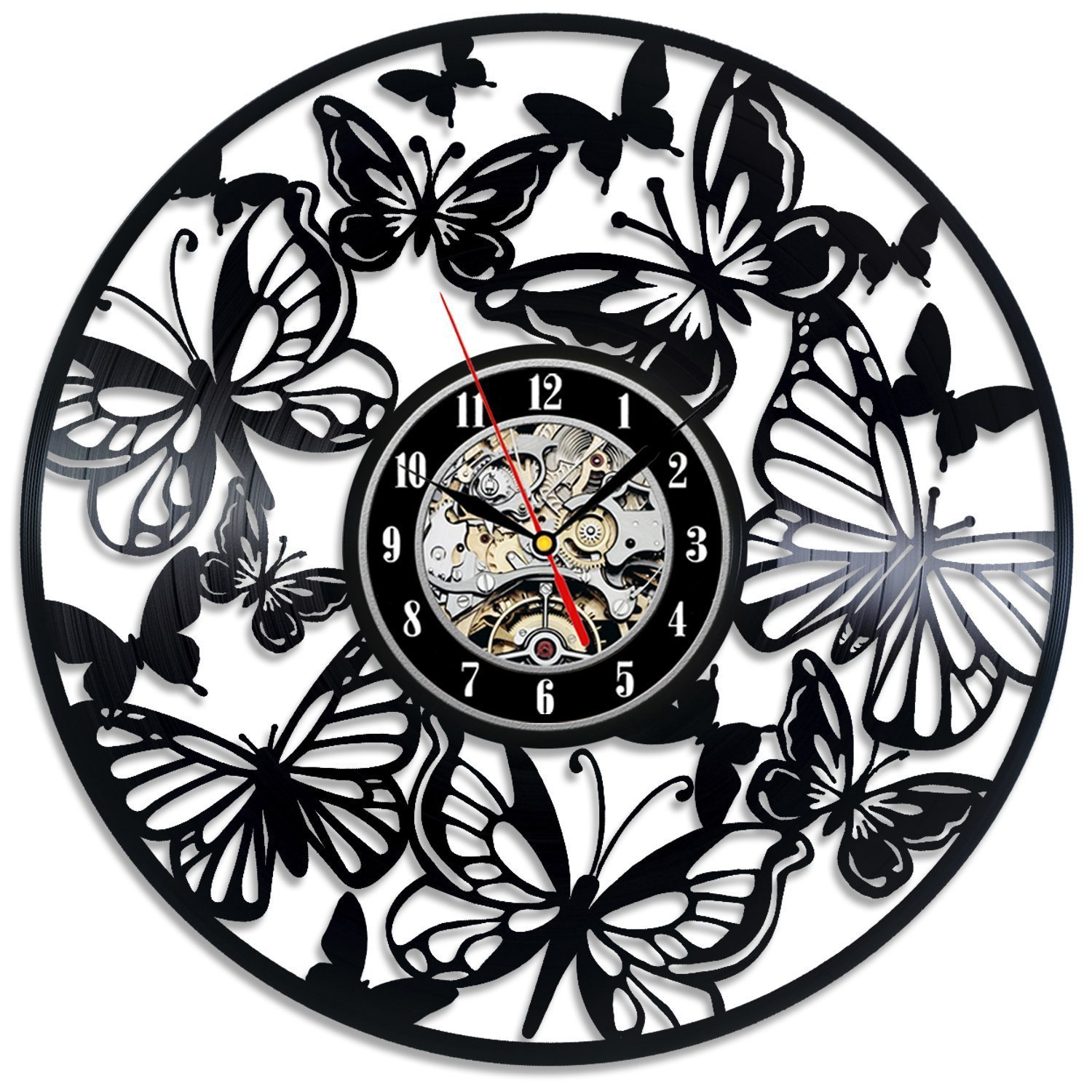Vinyl Wall Clock Vintage Modern Design Butterfly Living Room Decoration Unique Watch Wall Clocks Home Decor Silent 12 inch