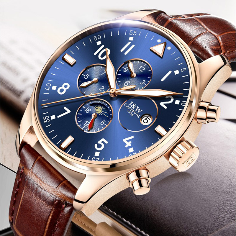 CARNIVAL Luxury Brand Military Watches Men Automatic Self-Wind 6 Hands 3 small dial rotation Leather Clock Man Sports Army WatchCARNIVAL Luxury Brand Military Watches Men Automatic Self-Wind 6 Hands 3 small dial rotation Leather Clock Man Sports Army Watch