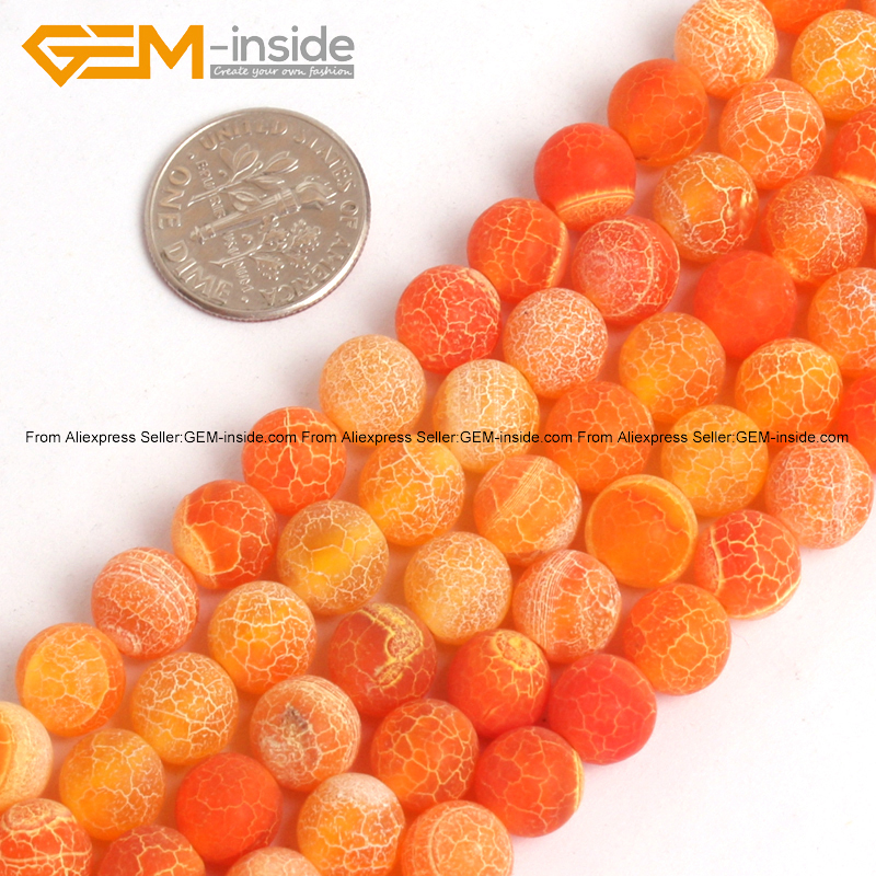 Roung Matte Frosted Orange Agates Stone Beads For Jewelry Making 8mm 15inches DIY Jewellery FreeShipping Wholesale Gem-inside