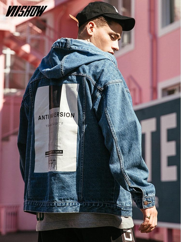 VIISHOW Streetwear Denim Hommes vestes Marque Imprimé Vestes Hommes Chaqueta Hombre 2018 Mens Vestes Et Manteaux Veste Homme JC1024181