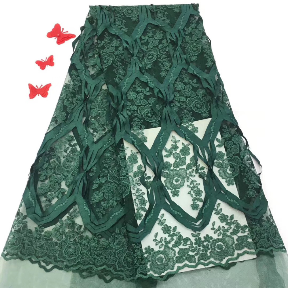 Nigerian Lace Fabrics for Wedding 2019 African French Lace Fabric High Quality 3D Lace Fashion Dark