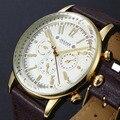 Marca de luxo Julius Homens Moda Esportes Relógios de Quartzo dos homens de Seis-pin Data Relógio Masculino de Negócios de Couro Militar Do Exército Relógio de pulso