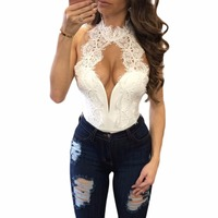 2017 Summer Sexy Bodysuit Women White Peek A Boo Lace Choker Neck Bodysuit Bodycon Rompers Womens