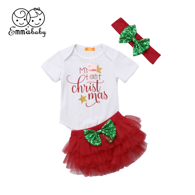 6d7e067d61be3 US $7.27 30% OFF|Emmababy 2018 New Tollder Kid Baby Clothing Infant Girls  My First Christmas Outfits Romper Tutu Shorts Headband Clothes Sweet FX-in  ...