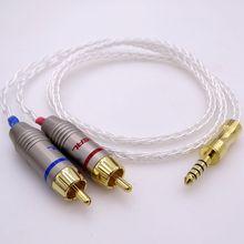 8 Núcleos de PCOCC 5N Prata Banhado A ouro 4.4mm macho para Dupla 2RCA Cabo de Áudio Masculino cabo de extensão para auscultadores