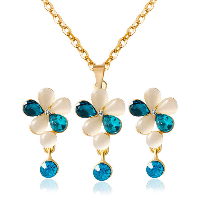 2017 Korean Designs Pendant Fashion Elegant Opal Necklace And Earring Set Blue Crystal