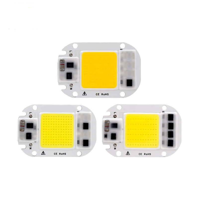 5pcs LED COB Beads Smart IC No necesita controlador 50W 30W 20W AC 220V 110V Entrada de alto lumen LED Chip para bricolaje LED Proyector reflector LED