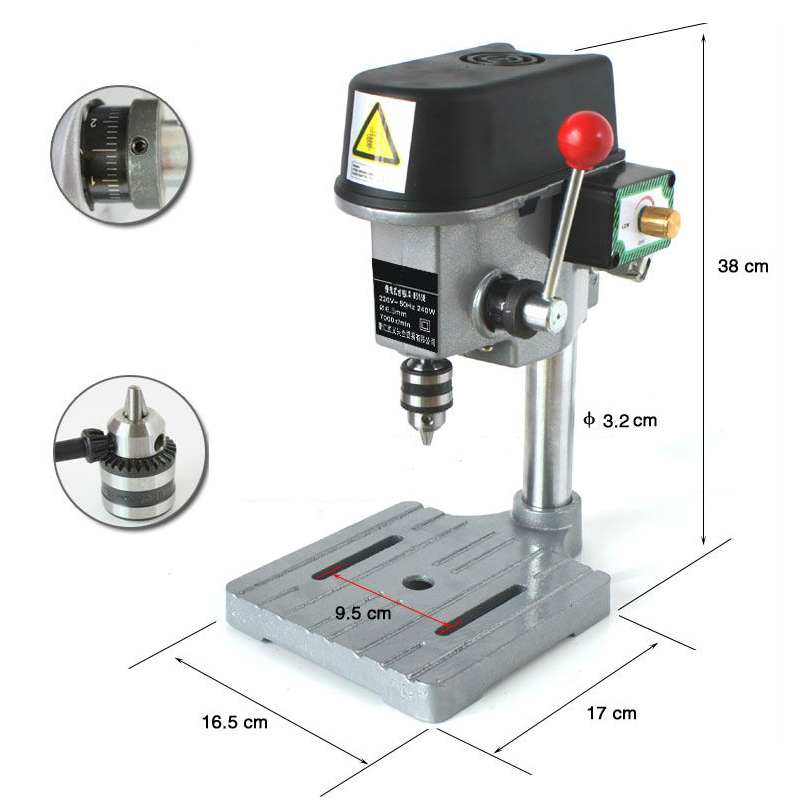 340W Mini Drill Press Bench 220V Rotary Tools 16000rpm High Speed 22mm Stroke 10mm Clamping  цены