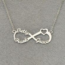 Personalized 3 Nombres Corazón Collar Infinito, Placa de Identificación personalizada Infinito, personalizada Collar Infinito, regalo para la Mamá