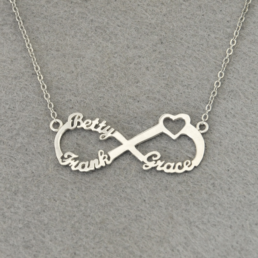 Personalized 3 Names Heart Infinity Necklace, Custom Infinity Nameplate, Personalized Infinity Necklace, Gift for Mom