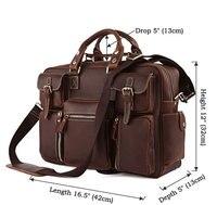 Vintage Brown 100 Crazy Horse Leather Men Messenger Bags Laptop Cowhide Leather Men S Briefcase Portfolio