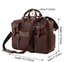 Vintage Brown 100% Crazy Horse Leather Men Messenger Bags Laptop Cowhide Leather Men's Briefcase Portfolio Travel Bags #MD-J7028