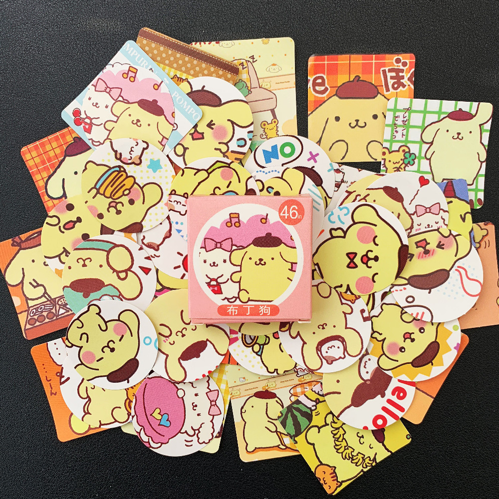 46 Pcs/pack Kawaii Pompom Purin Decorative Stickers Scrapbooking DIY Diary Album Stick Label Decor Kids Gift