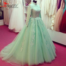 High Neck Long Sleeves Mint Green Muslim Evening Dresses lace Applique Floor Length Hijab Real Sweep Train Prom Dress Party Gown