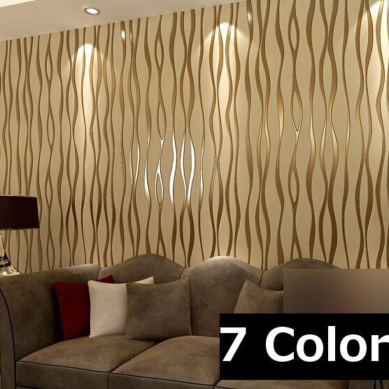 Aliexpress Buy Living Room TV Background Minimalist Curve Stripe Pattern Wallcovering Roll Embossed Flocking 3D Non Woven Wallpaper W135 From Reliable