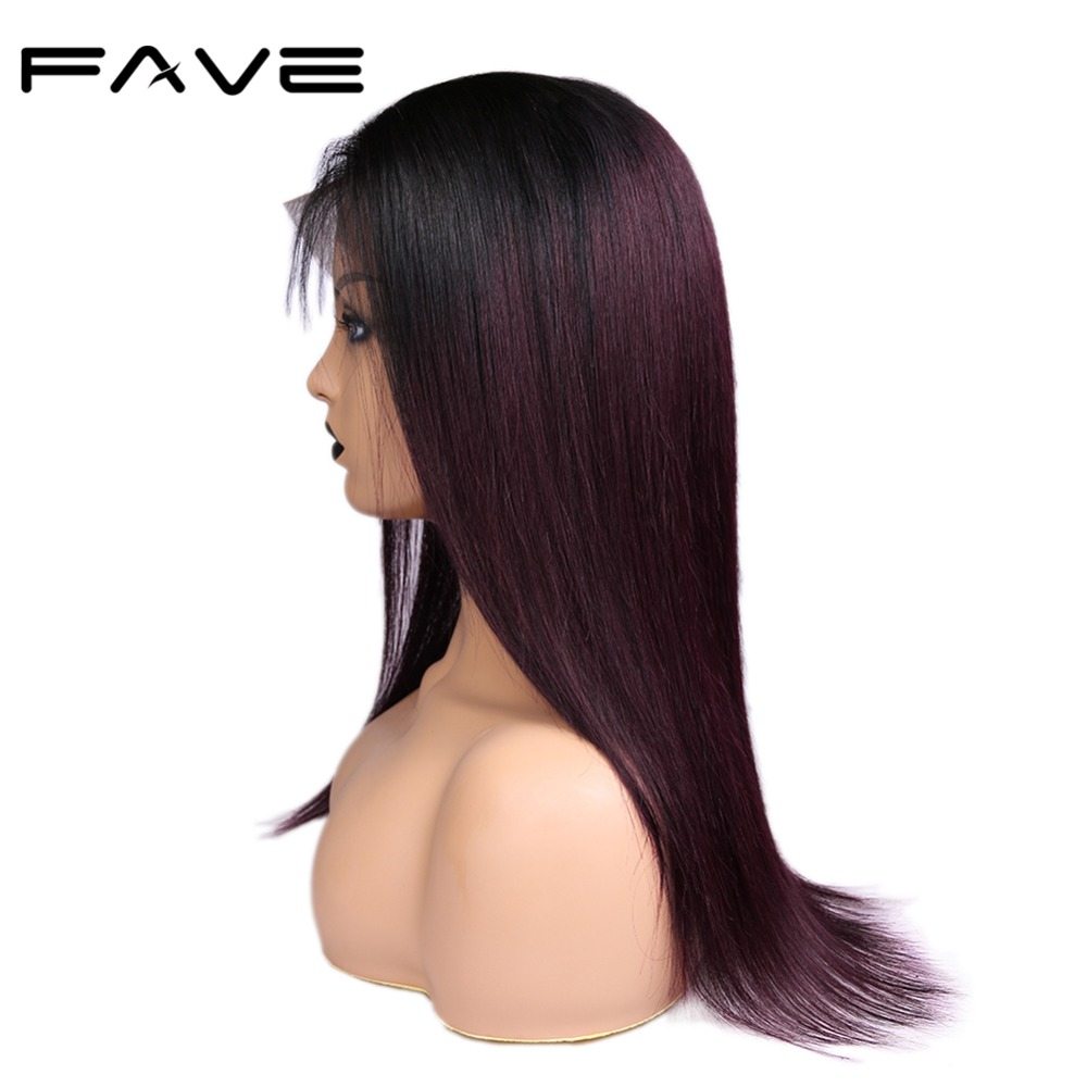 FAVE13*4 Lace Frontal Wigs With Baby Hair Remy Straight Human Hair Wig Natural Hairline 1B/99J Brazilian Wigs Free Shipping
