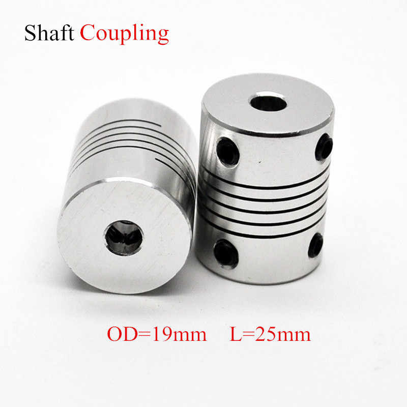Aluminium CNC Motor Jaw Shaft Coupler 5mm To 8mm Flexible Coupling OD 19x25mm Dropshipping 3/4/5/6/6.35/7/8/10mm