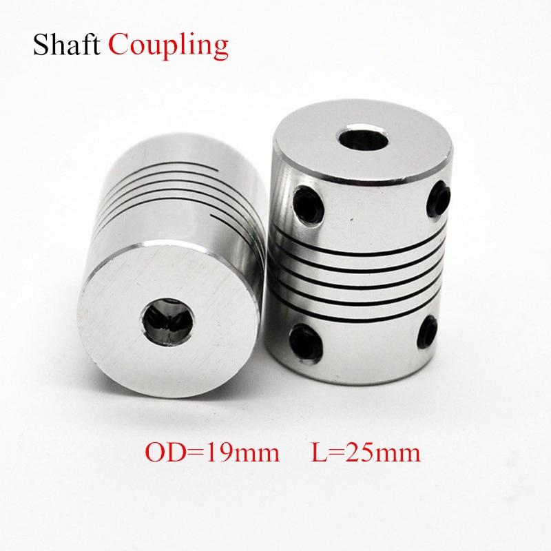 Aluminium CNC Motor Jaw Shaft Coupler 5mm To 8mm Flexible Coupling OD 19x25mm Dropshipping 3/4/5/6/6.35/7/8/10mm