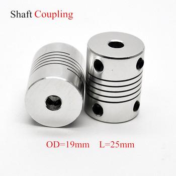Aluminium silnik cnc szczęki sprzęgło wału 5mm do 8mm elastyczne sprzęgło OD 19x25mm Dropshipping 3 4 5 6 6 35 7 8 10mm tanie i dobre opinie D19L25 Standardowy Szczęki pająk Flexible